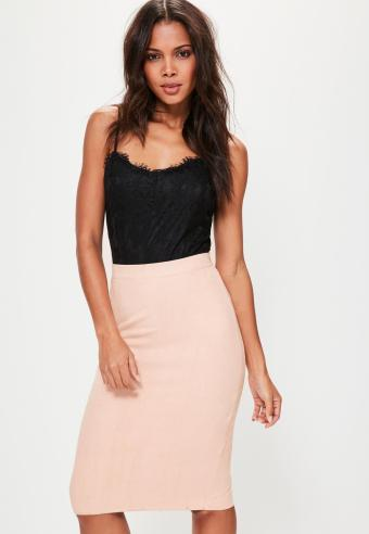 pink-faux-suede-midi-skirt